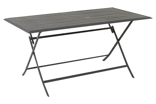 Anna pizarra Mesa plegable de aluminio para 6 personas, 150 x 80 x ...