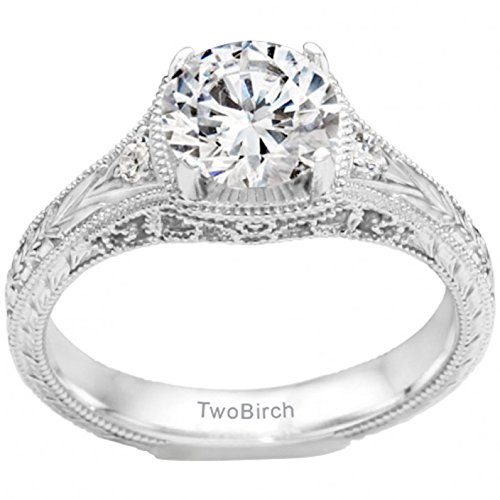 .27CT Moissanite by C&C Vintage Three Stone Promise Ring in Silver (1/4 ct)(Size 3 to 15, in 1/4 Sizes)