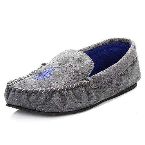Ralph Lauren Dezi Mocassin Herren Slipper Grau (grey with royal fleece lining)