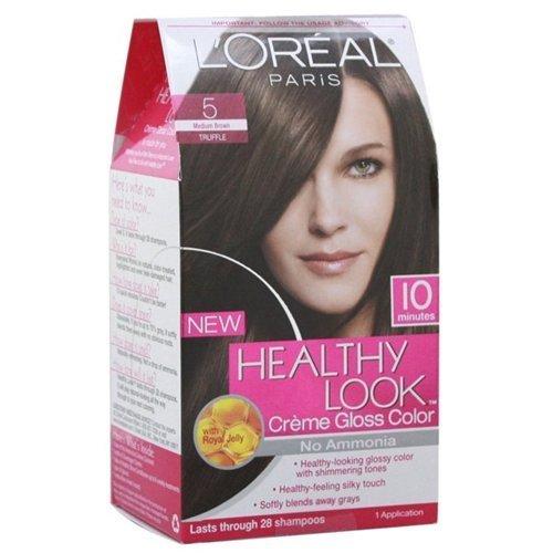 Loreal Healthy Look Hair Dye, Creme Gloss Color, Medium Brown 5, 1 ct (Pack of - Gloss Colouring Hair