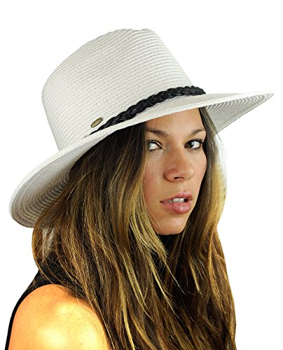 NYFASHION101 Teardrop Dent Braided Trim Casual Panama Fedora Sun Hat, White - Trim Fedora