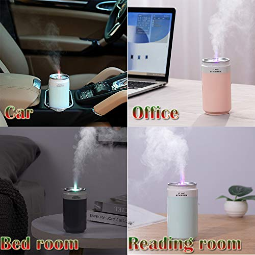 YAJONUE Colorful Cool Mini USB Humidifier,PortableDesktop Sprayer Humidifier, Travel Car Humidifier With 7 Colors Flame Lights for Auto-Off, Ultra-Quiet, Suitable for Home, Office, Baby Room, Car