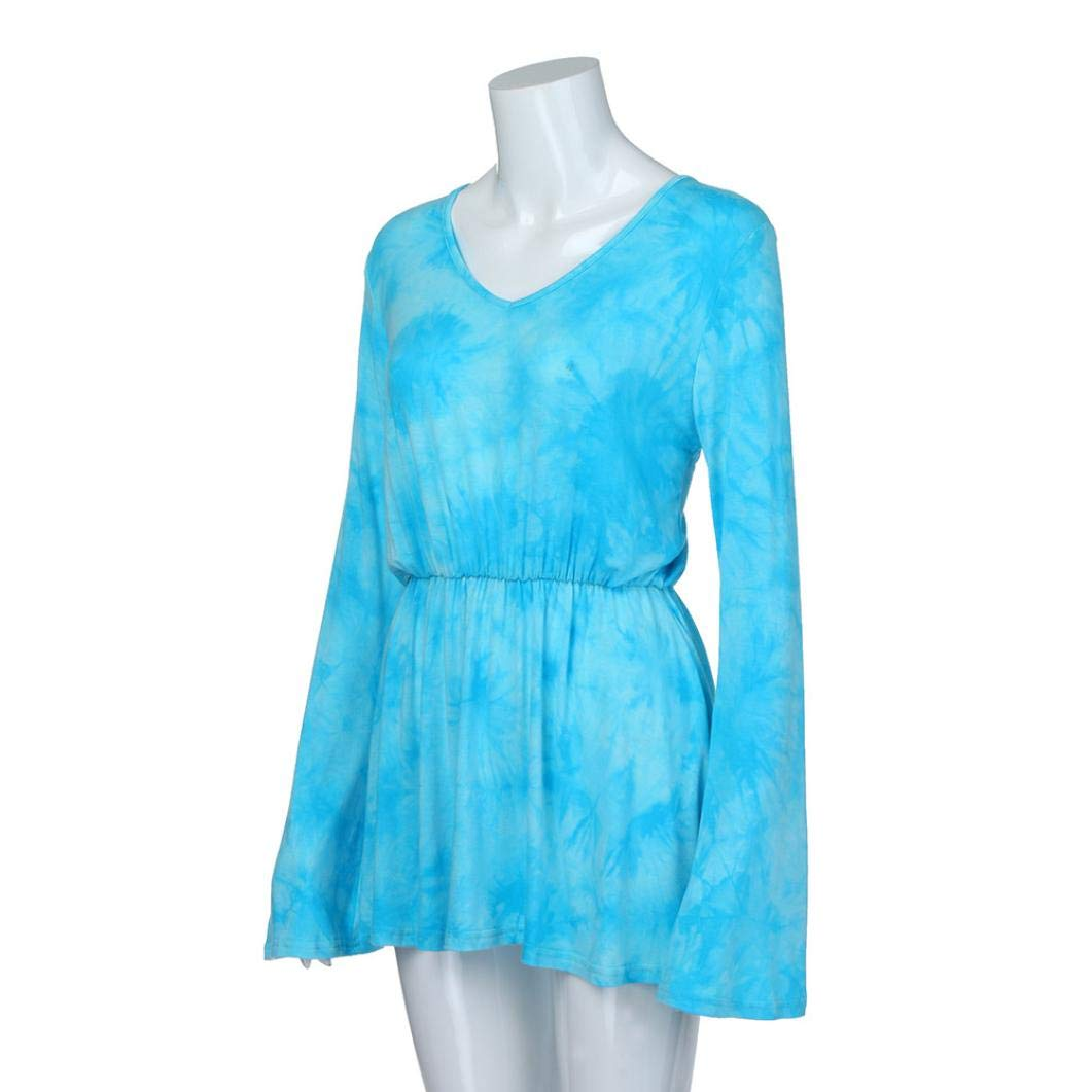 Tsmile Women Blouse Clearance Fashion V-Neck Tie-Dye Print Long Sleeve Tops Pleated Waist Line Tunic Shirt by Tsmile (Image #3)