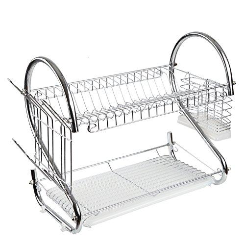 Finnhomy Functional Kitchen 2 Tier Chrome Dish Drying Rack