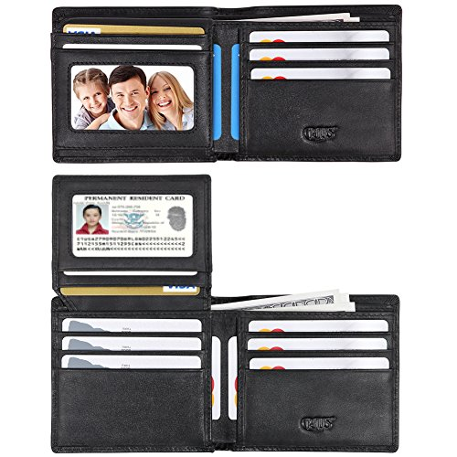 RFID Blocking Cowhide Leather Wallet for Men with 4 ID Windows