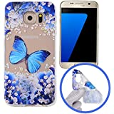 Silingsan Silicone Case for Samsung Galaxy S7 TPU Rubber Gel Cover Ultra Slim Thin Phone Skin Soft Flexible Shell Anti-Scratch Anti-Shock Protective Bumper - Blue Butterfly
