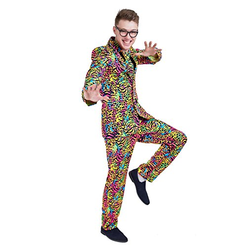 Charm Rainbow Men's Groovy Costume Hippie Event Suit Fancy Dress for Bachelor Halloween Theme -