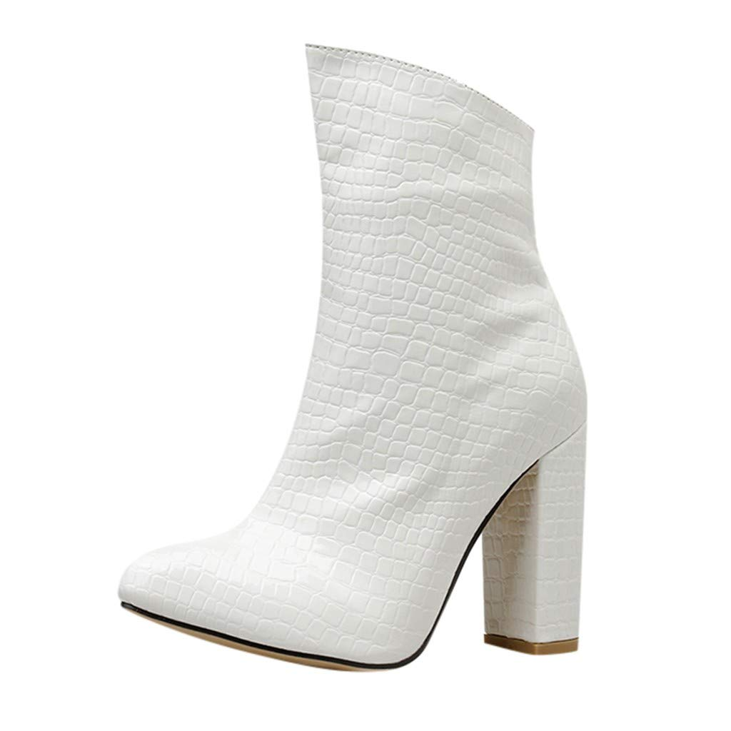 Fheaven Women's Winter Ankle Boots Chunky Heel Strap Buckle High Heels Shoes White by Fheaven-shoes