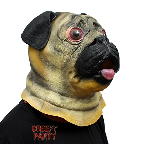 CreepyParty Deluxe Novelty Halloween Super Bowl Underdog Costume Party Latex Animal Dog Head Mask (Pug) Yellow]()