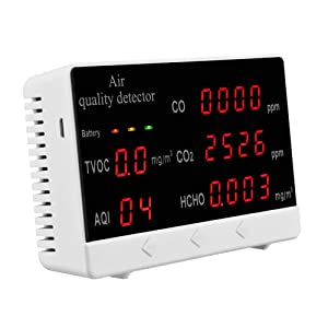 Air Quality Monitor SEAAN Air Quality Detector for HCHO, TVOC, CO2, CO, AQI with 5.5'' Screen for Home/Office/School/Laboratory
