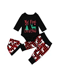 3pcs Toddler Baby My First Christmas Outfits Romper Unisex Deer Xmas Clothes Set