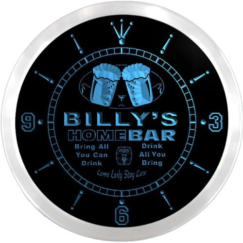 (ncp0073-b BILLY'S Home Bar Beer Pub LED Neon Sign Wall Clock)