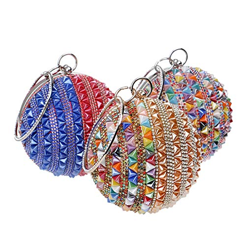 Bag Multicolor Evening Bridal 2 Red Beaded Cute Crystal Handbag Blue Small Party KERVINFENDRIYUN Mini Color Purse Rhinestone Ball Women Clutch Diamonds Round Wedding and wPgx8B1zq