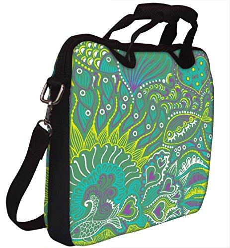 Snoogg Abstrakte nahtlose Beschaffenheit mit Fisch Gedruckt Notebook-Tasche mit Schultergurt 15 bis 15,6 Zoll