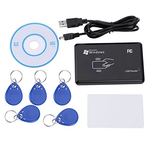 - Zerone 125KHZ RFID ID Card Reader/Writer Kit- USB RFID Contactless Proximity Smart ID Card Reader Door Access Control Sensor Copier Duplicator with 5pcs Key Fob Tag