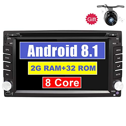 Eunavi 2 Din in Dash Car Stereo with Navigation Android 8.1 2G+32G Octa Core Double Din 6.2 in Universal Car Radio GPS Head Unit Bluetooth AM/FM/RDS Mirror Link Video Player
