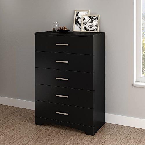 South Shore Gramercy 5-Drawer Dresser, Pure Black with Brushed Nickel Handles ()