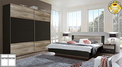Schlafzimmer komplett 4-teilig 631419 lava / wildeiche Bett 160x200cm