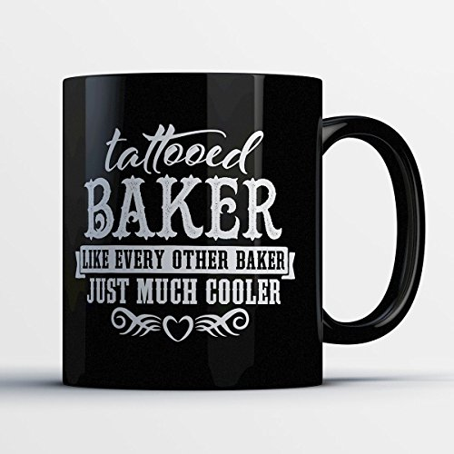 Matt Martin Halloween Costume (Baker Coffee Mug - Tattooed Baker - Adorable 11 oz Black Ceramic Tea Cup - Cute Baker and Baking Enthusiast Gifts with Baker Sayings)