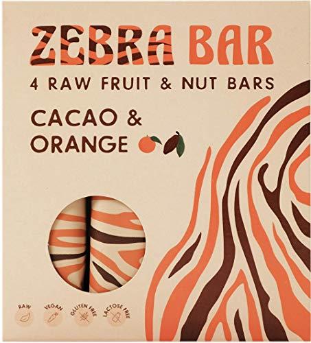 Zebra Bar Cacao & Orange Frucht-Nuss-Riegel | ohne künstlichen Zucker |Roh | Vegan |Gluten- und Laktosefrei | Sport Ernährung | Gesunde Ernährung | Superfood |Value Pack 4 x 35 Gramm ZONAMA FOOD
