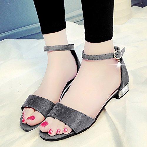 Moda Mujer verano sandalias confortables,39 blanco Grey
