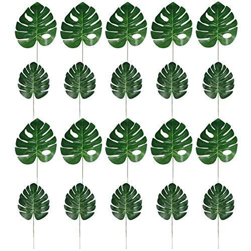 Eding Aritificial Tropical Palm Leaf Faux Palm Leaves Fake Palm Leaves Artificial Swiss Cheese Plant Artificial Windowleaf Tropical Vine Leathery Leaf for Hawaiian Luau Party Decorations (Set of 10) (Palm Vine)
