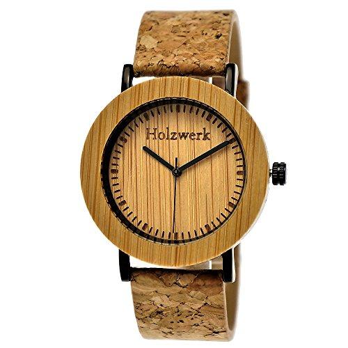 Hecha a mano de madera de Alemania® - Reloj de mujer con certificado Natural Vegano) de madera reloj de pulsera de reloj negro analógico clásico de cuarzo ...