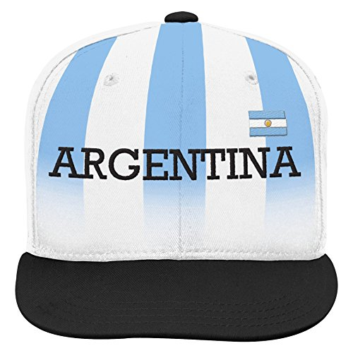 Outerstuff World Cup Soccer Argentina Boys Jersey Hook Flag Snapback Cap with Adjustable Snap Closure, White, One Size