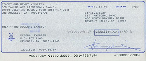 Signed Winkler, Henry Personal Check autographed