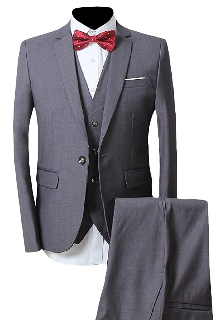 YUNY Men Bussiness Wedding Party Pure Color Casual Party Blazer Vest Pants Set Gray S