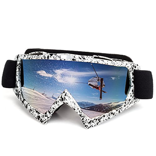 OTG Ski Goggles, Wind Resistance Motorcycle Goggles Anti-fog Ski Glasses Adult Skiing Snow Goggles with Broader View for Motocycling, Cycling, Skiing, Skatting and Riding in Colorful Lens (gray)