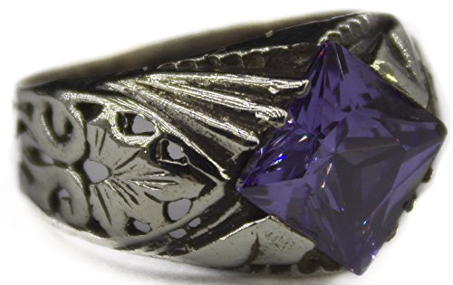 Falcon Jewelry Sterling Silver Men Ring, Created Amethyst Stone, Handmade Sterling Silver Ring