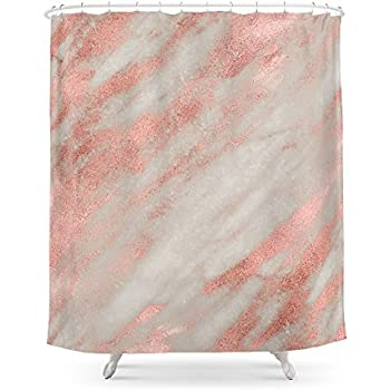 Society6 Smooth Rose Gold On Gray Marble Shower Curtain 71 By