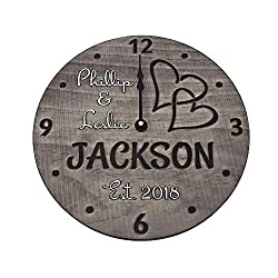 11 Inch Handmade Wooden Wall Clock Personalized for Couple - One of a Kind Wedding Anniversary Gift