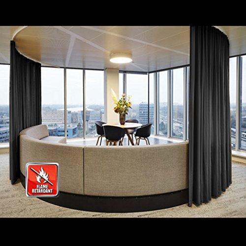 lame Retardant Thermal Insulated Curtain Drapery Panel Pinch Pleat, Black 52