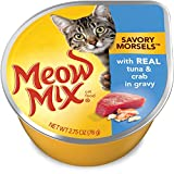 Meow Mix Savory Morsels With Real Tuna & Crab in Gravy Wet Cat Food, 2.75 oz Cups (Pack of 12)