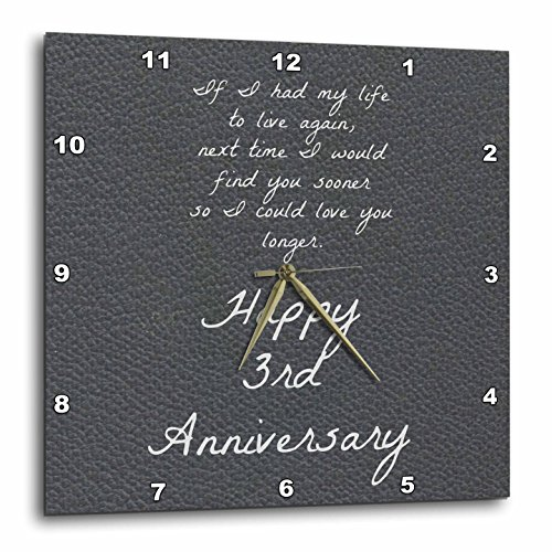 3dRose 3rd Anniversary Love You Longer on Faux Leather-Like Background - Wall Clock, 15 by 15-Inch (DPP_221894_3)