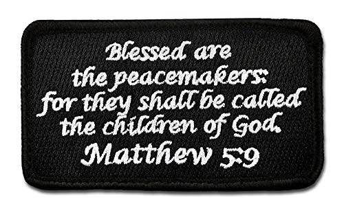 (Bastion Tactical Combat Badge Military Hook and Loop Badge Embroidered Morale Patch - Matthew 5:9 (Black))