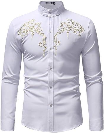 Susulv-MCL Camisa de los Hombres Camisa con Cuello Alto de Manga Larga y Cuello Bordado Camisas Casuales (Color : Blanco, tamaño : L): Amazon.es: Hogar