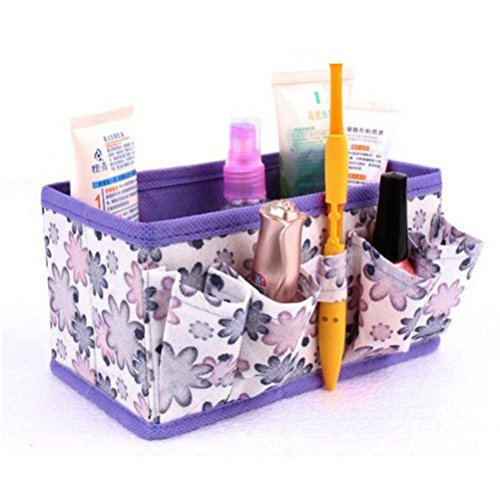akeup Box Cosmetic Storage Bag Foldable Organiser Cases (Purple) (Woven Blade Set)