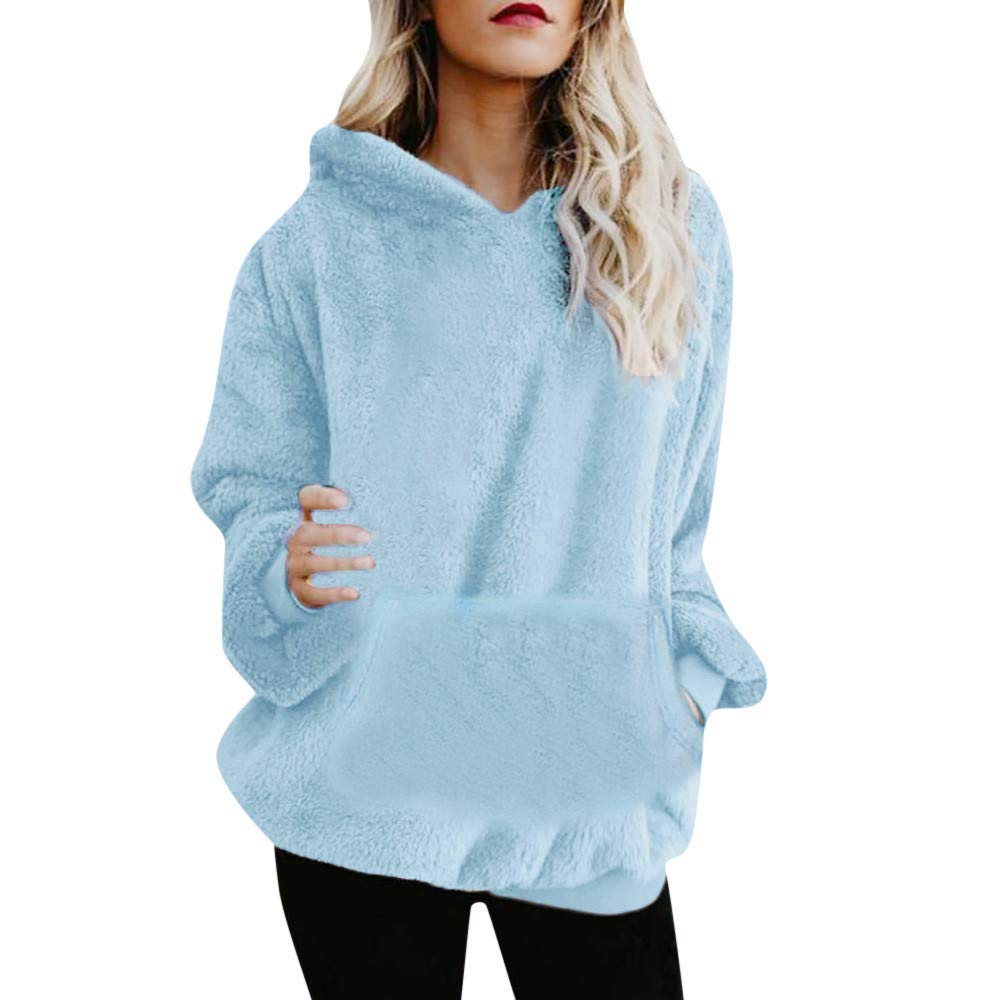 ad7e03b83098 Amazon.com: ZOMUSAR Women's Winter Warm Wool Oversized Loose Pullover  Hoodie with Pockets Sweatshirt Pullover Jumper: Clothing