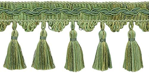 "Green Mist Pale Green|2.5/"" Tassel Fringe Trim