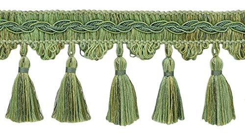 Style# VTF035 Green Mist Color: Sagebrush Pale Green D/ÉCOPRO Veranda Collection 3.5 Inch Tassel Fringe Trim Sold by The Yard Sage Green VNT32