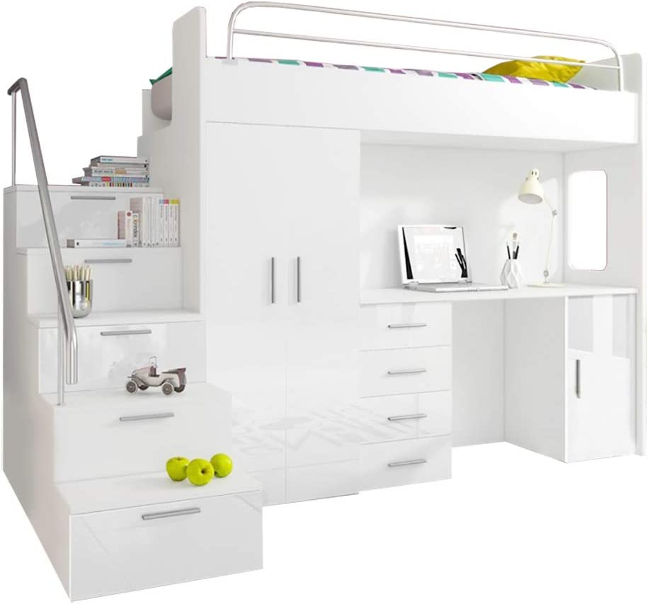Ye Perfect Choice HIGH BED TALA 4S, MODERN SET WITH WARDROBE, DESK AND BED WITH MATTRESS, FUNCTIONAL DESIGN, HIGH GLOSS INSERTS (All in White)