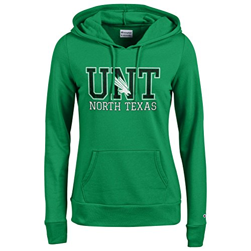 - Champion NCAA Women's Comfortable Fit Long Sleeve University Fleece Hoodie , North Texas Mean Green, X-Large