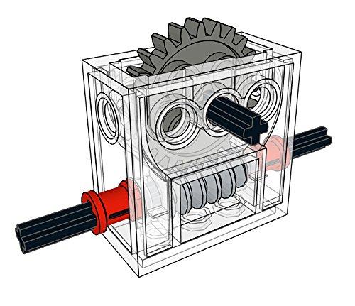LEGO Technic COMPLETE GEARBOX ASSEMBLY 2 x 4 x 3 1/3 Trans-Clear Wormbox gear motor REDUCER block Mindstorms robotics ev3 NXT transparent robot building power functions part 6588 (Lego Mindstorms Parts Bulk)