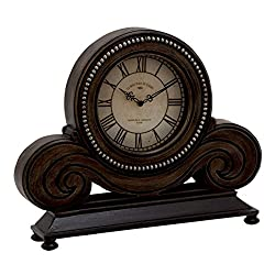Plutus Brands Classy Wood Table Clock