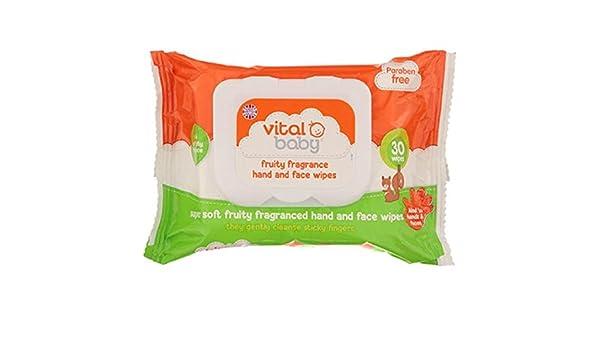 Vital bebé con sabor a fruta de la mano y de la cara Toallitas 30 por paquete: Amazon.es: Salud y cuidado personal