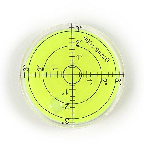Bubble Spirit Level, 66x10mm Circular Bullseye Level Inclinometers, Fluorescent Yellow