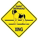 KC Creations Saint Bernard Xing Caution Crossing Sign Dog Gift